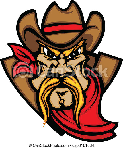 Cowboy Mascot Head Vector Illustrat - csp8161834