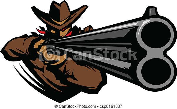 Cowboy Mascot Aiming Shotgun Vector - csp8161837