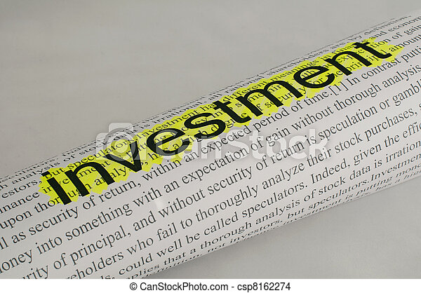 Text investment on paper - csp8162274