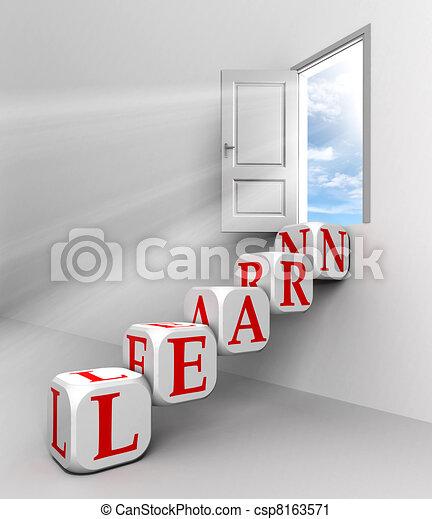 learn conceptual door with sky - csp8163571
