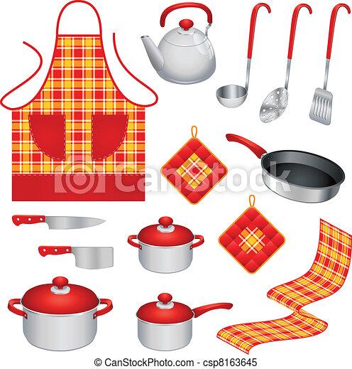 Clipart vectorial de utensilios cocina conjunto de for Utensilios de cocina logo