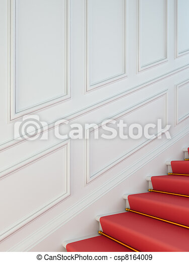 A classical staircase with a red carpet. - csp8164009