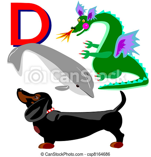 Illustration of animals that start with the letter d. Dachshund with ...