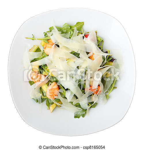 dish with arugula salad - csp8165054