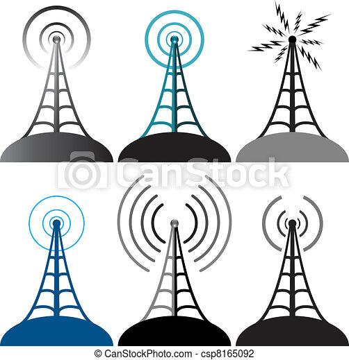 vector radio tower symbols - csp8165092