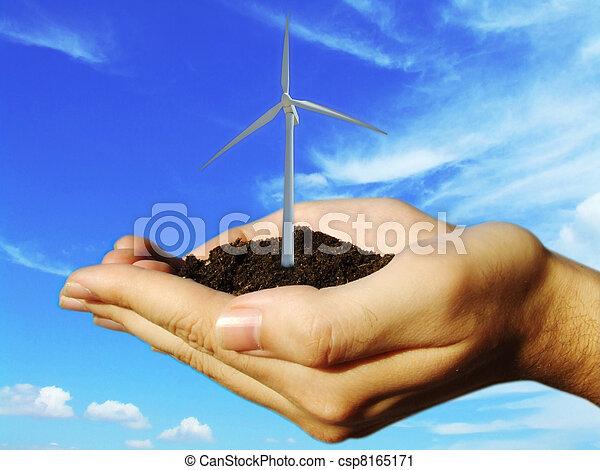 concept of wind eolic turbine in hands  - csp8165171