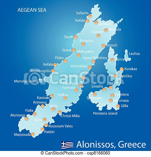Island of Alonissos in Greece map - csp8166060
