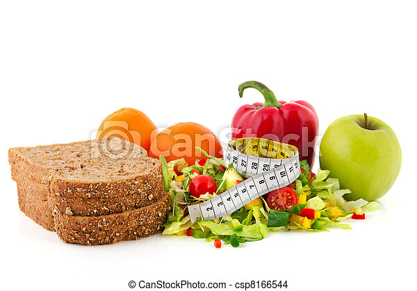 Diet meal with measuring tape - csp8166544
