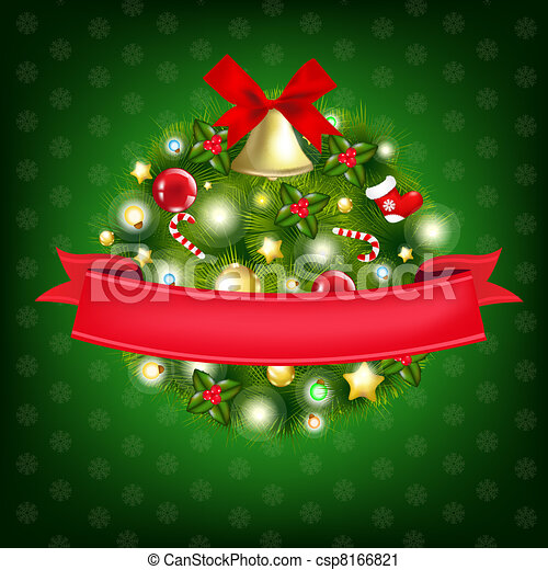 Xmas Wreath With Bells - csp8166821