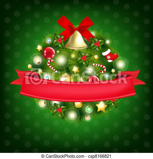 Xmas Wreath With Bells - csp8166821