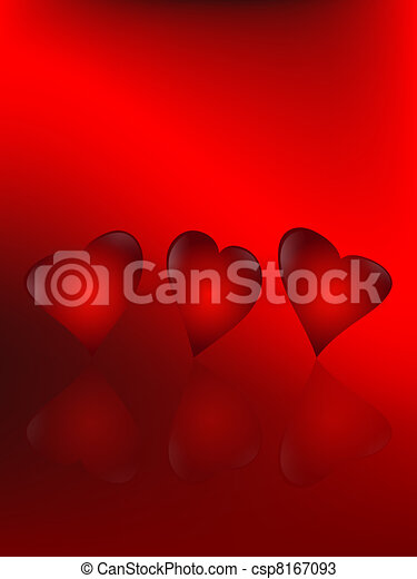 Drawings of animated hearts - three animated hearts on a red ...