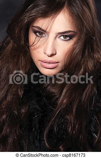 cabelo, mulher, pretas - csp8167173