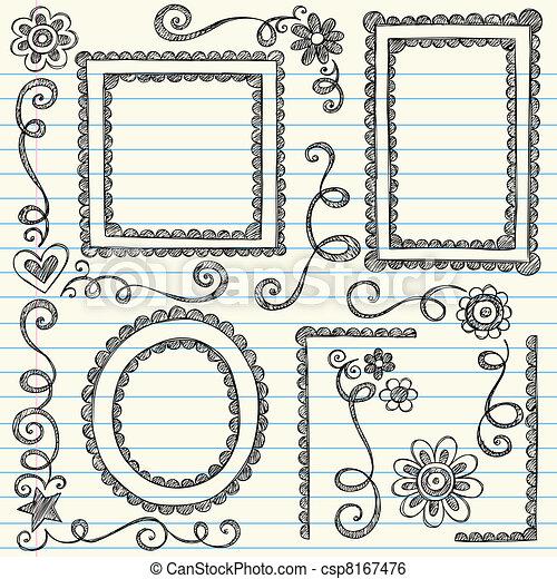 Picture Frames Sketchy Doodle Set - csp8167476