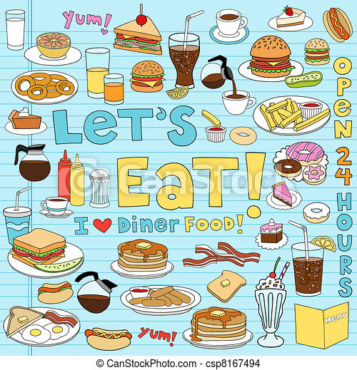 Diner Food Notebook Doodles Set - csp8167494
