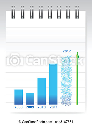 notepad and blue graph illustration - csp8167661