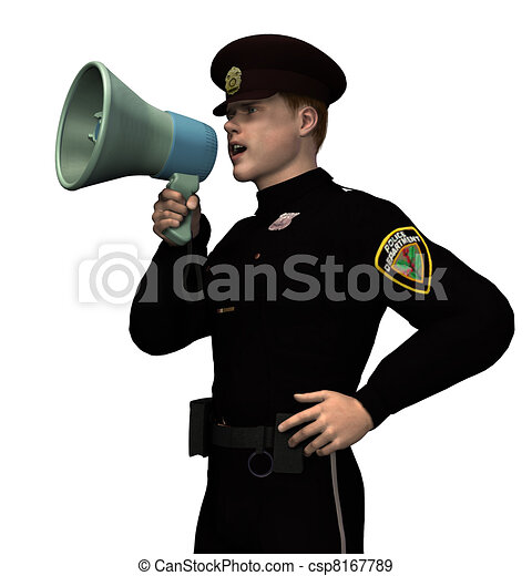 Policeman with Megaphone - csp8167789