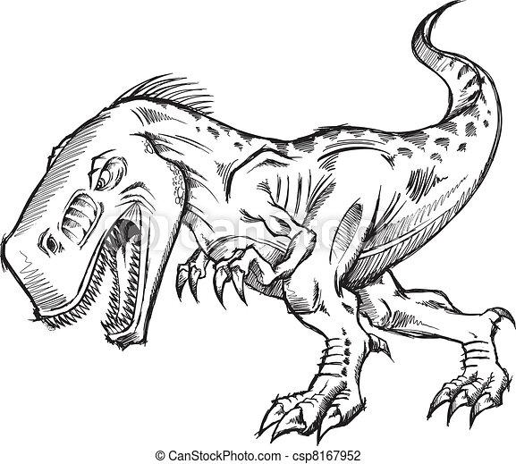 Tyrannosaurus Dinosaur Sketch art - csp8167952