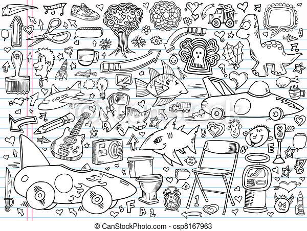 Notebook Doodle Design Elements  - csp8167963