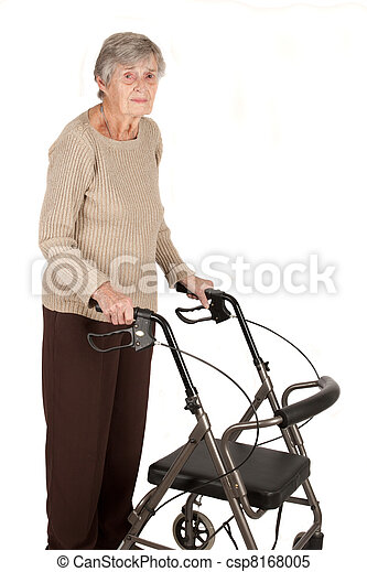 Elderly woman with walker - csp8168005