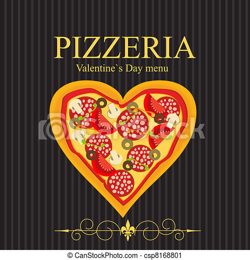 Pizza Menu Template on Valentine`s Day, vector illustration - csp8168801