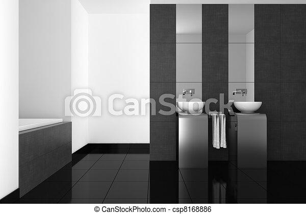 Archivio illustrazioni di bagno moderno nero pavimento moderno bagno con csp8168886 - Pavimento bagno moderno ...