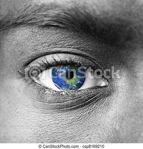 惑星, 地球, 青, 人間, 目 - csp8169210 惑星, 地球, 青, 人間, 目お気