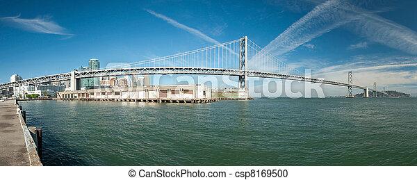 Suspension Oakland Bay Bridge in San Francisco to Yerba Buena Island with downtown - csp8169500