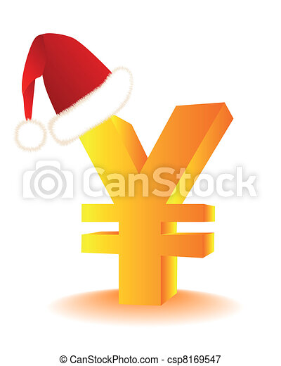 symbol of the yen in the red hat Santa's - csp8169547
