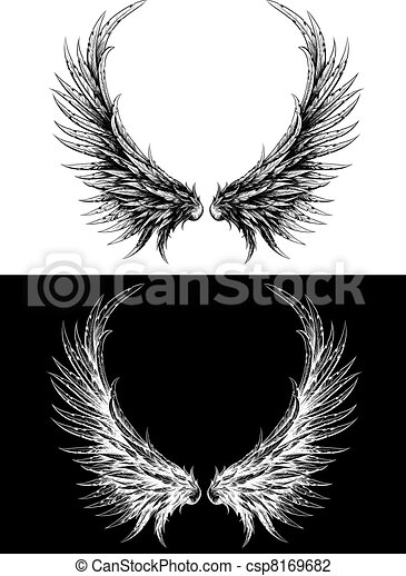 Silhouette of wings made like ink drawing - csp8169682