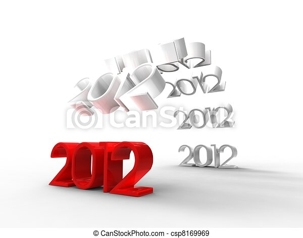 3d illustration of a bridge formed by the new year 2012 on a white background - csp8169969