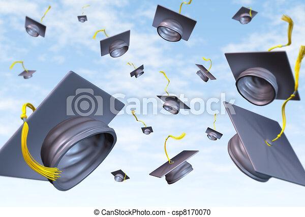 Graduation caps thrown in the air - csp8170070