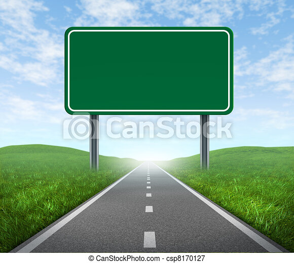 Road with highway sign - csp8170127