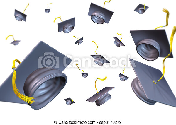 Graduation hats thrown in the air - csp8170279