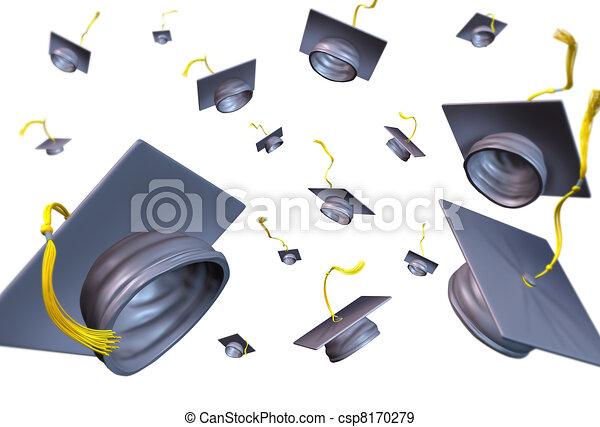 Graduation hats thrown in the air - csp8170279