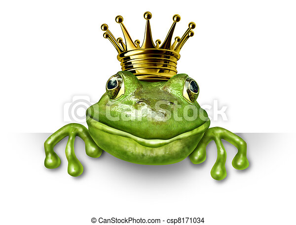 Frog prince with small gold crown - csp8171034