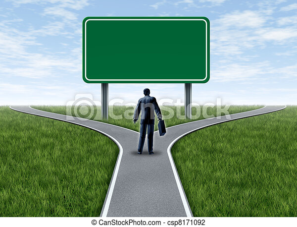 Business decision with blank sign - csp8171092