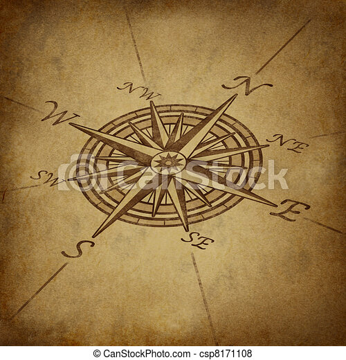 Compass rose in perspective with grunge texture - csp8171108