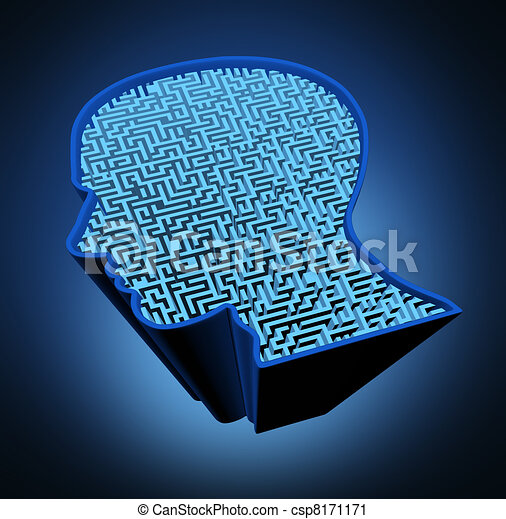Clipart of Human brain disease and intelligence puzzle with a blue... csp8171...
