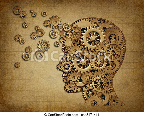 Human brain function grunge with gears - csp8171411