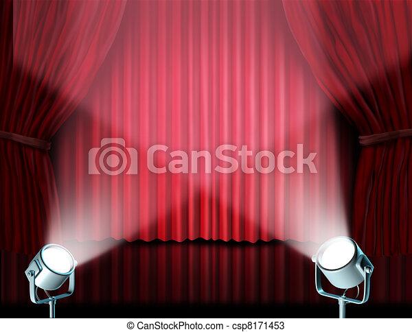 dessins de projecteurs sur rouges velours cin ma rideaux csp8171453 recherchez des. Black Bedroom Furniture Sets. Home Design Ideas