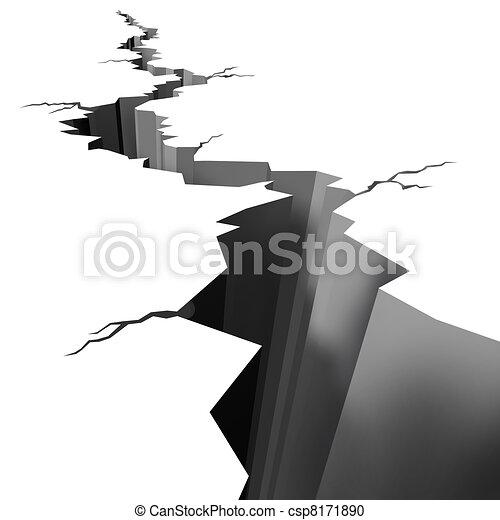 Earthquake cracked ground floor - csp8171890