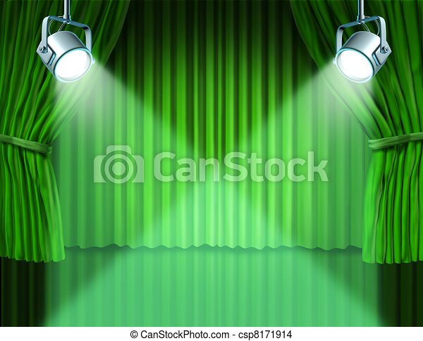 Spotlights on green velvet cinema curtains - csp8171914