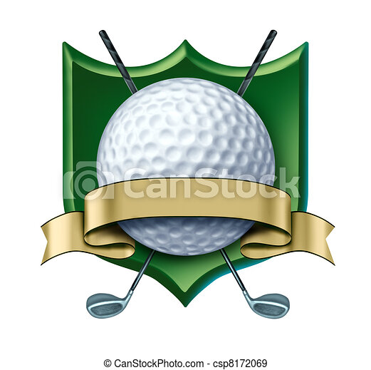 Golf Award crest with blank gold label - csp8172069