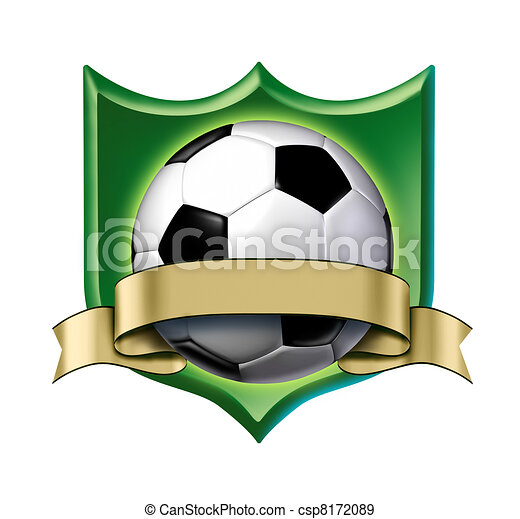Soccer crest award with blank gold label - csp8172089