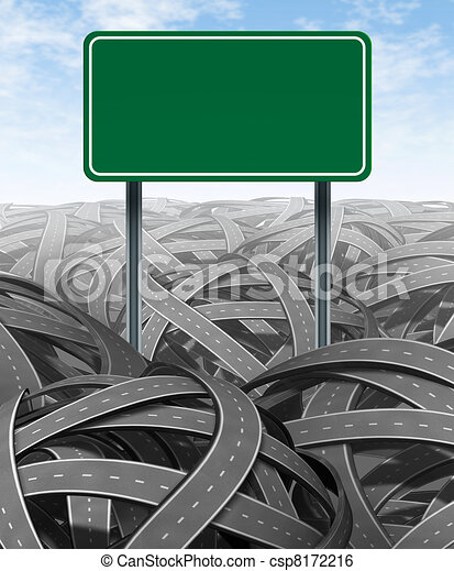 Stock Illustration of Challenges and obstacles with blank highway sign ...