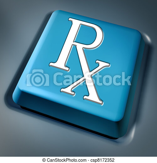 Prescription rx blue computer key - csp8172352