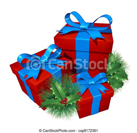 Clipart von Weihnachten, Geschenke, kiefer, Stechpalme ...