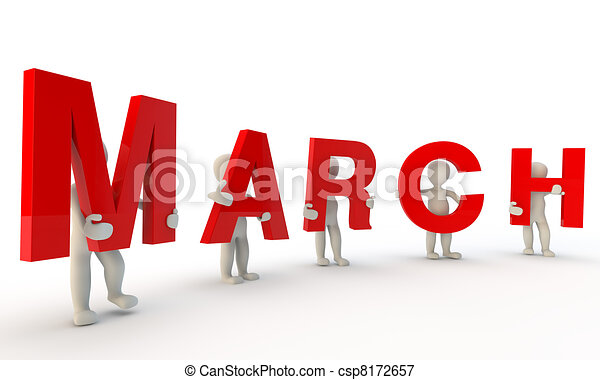 stock illustrations of march 3d humans forming red word