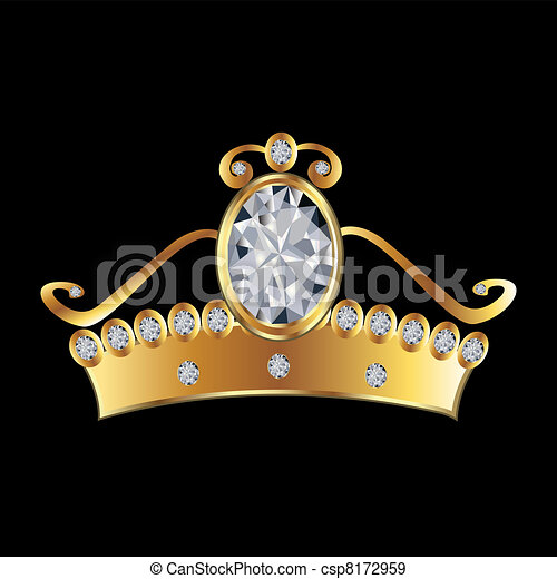 Princess crown in gold and diamonds - csp8172959