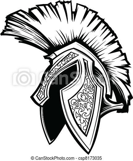 Spartan Trojan Helmet Mascot Vector - csp8173035